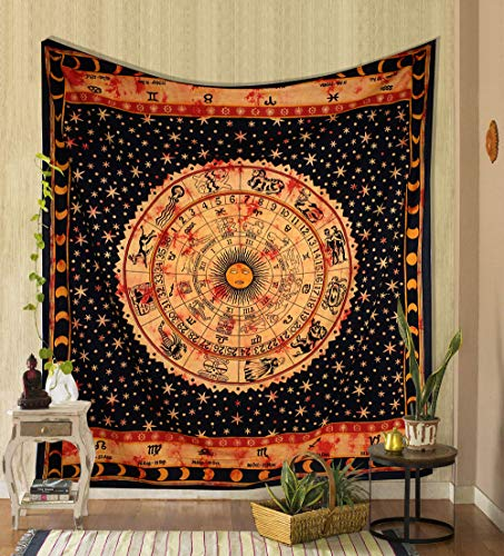 THE ART BOX Yellow Zodiac Tapestry Wall Hanging Horoscope Tapestry Dorm Room Tapestries Hippie Tapestry Indian Astrology Trippy Celtic Psychedelic Tapestry Wall Hanging Space Rashi Tapestry