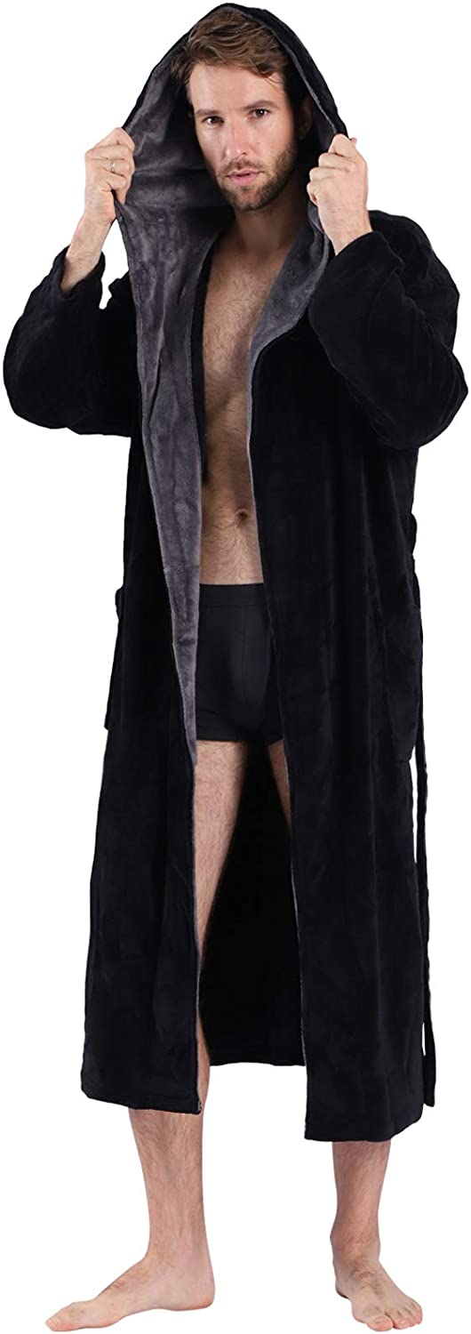 Trust SeaKanana Mens Large Hooded Daily bargain sale Long with Chest Big Bathrobe Button