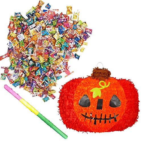 ハロウィンパーティーイベントグッズ かぼちゃのピニャータとお菓子セット / ハロウィーン お配りグッズ アイテム プチギフト 景品 プレゼント お菓子  11530