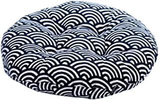 DRAGON SONIC Japanese Style Linen Yoga Bolster Tatami Floor Round Cushion(Waves,17
