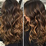 Maycaur Two Tone Color Wave Lace Front Wig With Baby Hair Ombre Brown Full Lace Human Hair Wigs 150% Density(22inch lace front wig)