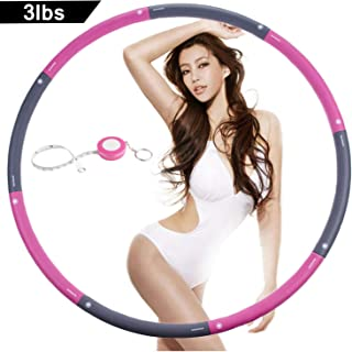 NEOWEEK | Upgraded | Weighted Hula Hoops for Exercise - 3lb, Professional Adult Hula Hoop for Weight Loss (Pink-Gray)