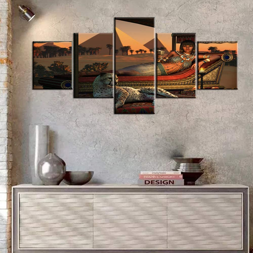 Industry No. 1 Egypt Canvas Pictures Ranking TOP10 for Wall Egyptian and Woman Cheetah Painti