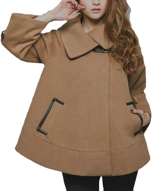 Etecredpow Women's Loose Fit Lapel Cape Poncho Wool Blend Pea Coat Jacket