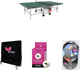 Butterfly Playback Rollaway Table Tennis Table in Green with Weatherproof Cover, 2 Timo Boll Carbon Fiber Rackets, and 6 Balls