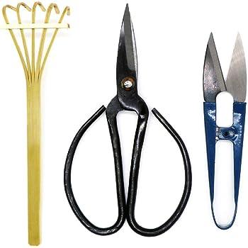 Kebinfen Bonsai Tree Pruning Trimming Starter Tool Kit - Pruning Scissors, Bonsai Scissors for Bud & Leaves Trimmer, Bamboo Rake - Set of 3