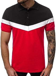 Abeaicoc Men Short Casual Casual Lapel Sleeve Business Contrast Golf Polo Shirt