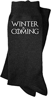 Calcetines de hombre Winter is coming. Calcetines divertidos, con mensaje. Parodia Juego de tronos.
