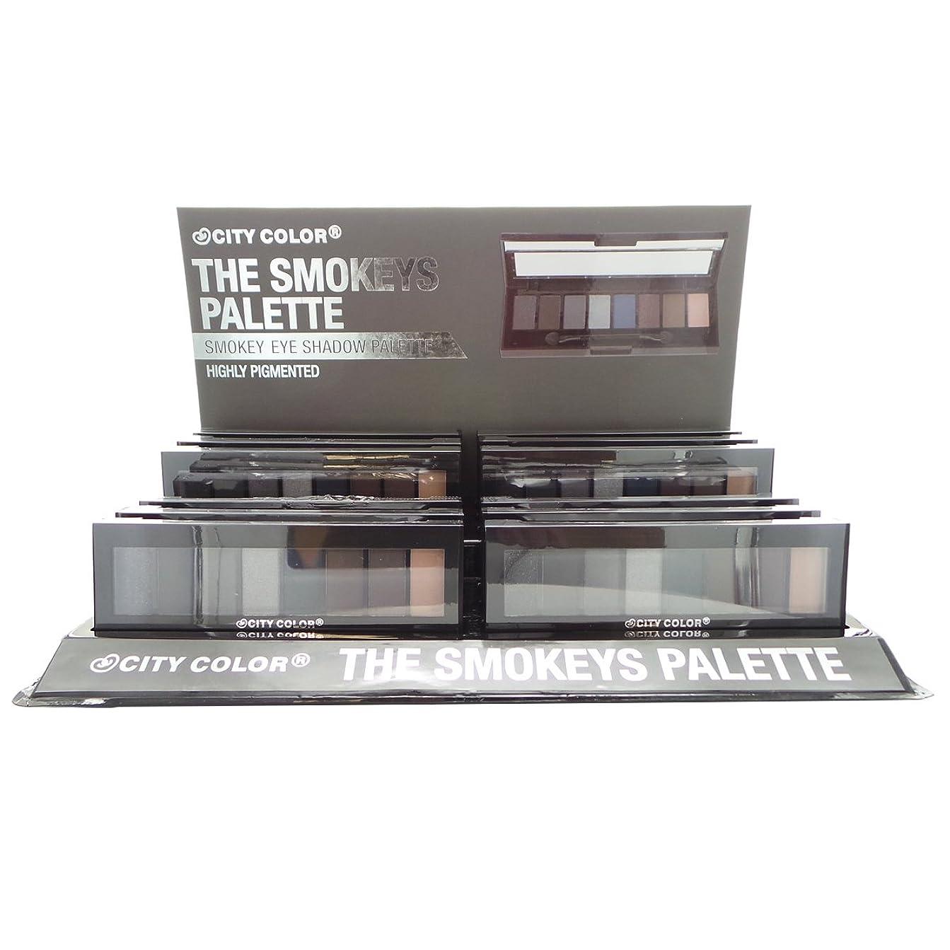 エレベーターソフトウェア錆びCITY COLOR The Smokeys Eyeshadow Palette Display Set, 12 Pieces (並行輸入品)