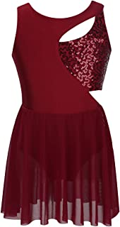 Alvivi Kids Girls Keyhole Halter Lace Dance Crop Bra Top with Shorts Set Ballet Lyrical Dance Dress Costume