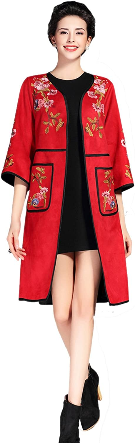 Tortor 1Bacha Women Ladies Suede Floral Embroidered Long Trench Coat Jacket