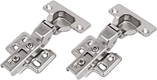 Kingsman Concealed (35 mm) 110-Degree Clip-On Face Frame Concealed for Frameless Kitchen Cabinet Door Hinge Stainless Steel Nickel Plated Finish (6, Full Overlay)