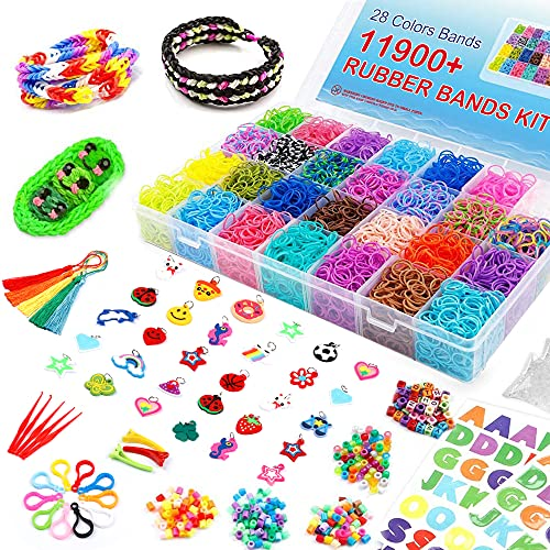 Inscraft 11900+ Loom Bands: Rubber Band Bracelet Kit with Container, 11,000+ Colorful Loom Bands in 28 Colors, 600 Clips, 200 Beads, 52 ABC Beads and More, Bracelet Making Refill Kit for Kids Gift