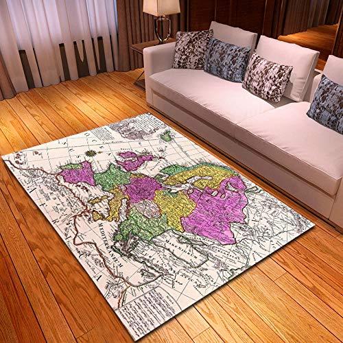 CGZLNL Alfombra de Suelo Mapa Home Alfombra Impreso Fácil de Limpiar Salón Comedor Dormitorio Alfombra de Suelo Tamaño: 160 x 230 cm