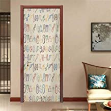 Olympics Door Stickers Decor Door Mural Collection of Fitness and Sports Icons Gym Aerobics Healthy Lifestyle Theme Art Sticker Decor Beige Blue W35.4 x H78.7 INCH