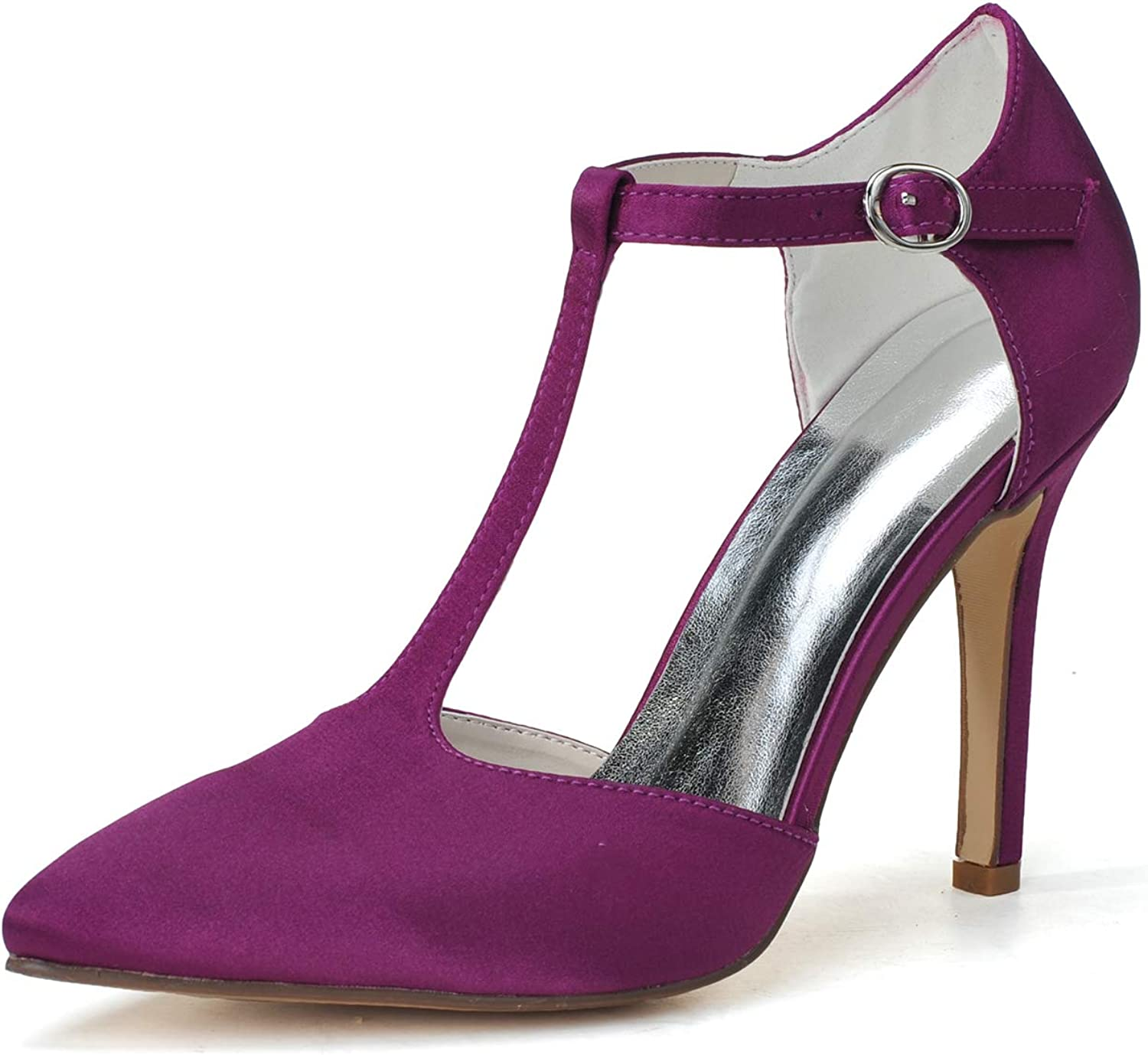 YUGUO High Heels Satin High-Heeled Ladies Versatile Pointed Single shoes Beautifully Matched with T-Strap Buckle Female Summer