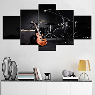 Black and White Wall Art Musical Instruments Pictures Concert Paintings 5 Piece Canvas Wall Art Home Decor for Living Room Modern Artwork Wooden Framed Ready to Hang Posters and Prints(60''Wx32''H)