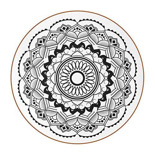 Posavasos (Set de 6) - Regalos Originales Decorativos para café Cocina uno Drink Taza Vino Tazas Vasos Cristal- Juego de mesas Mandala Gris 11x11 cm
