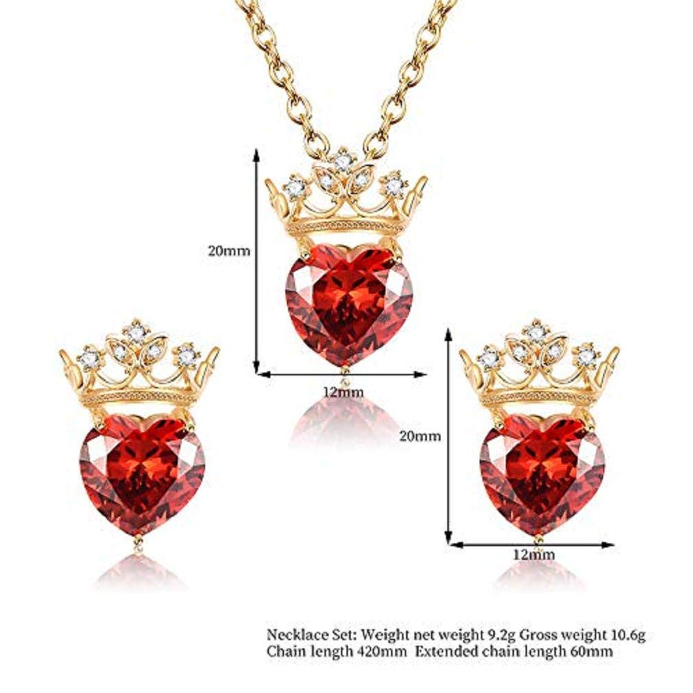 ICHQ 2019 Necklace Elegant Earrings Crown Red Love Style Women Girls Jewellery Set of Crystal Pendant (Red)