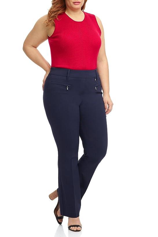 Rekucci Curvy Woman Bootcut Plus Size Pant with Zipper Pockets