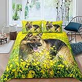 Juego de ropa de cama de perro pastor alemán, 135 x 200 cm, diseño de perro pastor alemán
