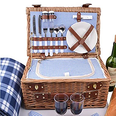 SatisInside UPGRADED INSULATED Deluxe 17Pcs Kit Wicker Picnic Basket Set For 2 People - Reinforced Handle - Plus A Free Waterproof Fleece Blanket Worth $16.99 - Blue Gingham