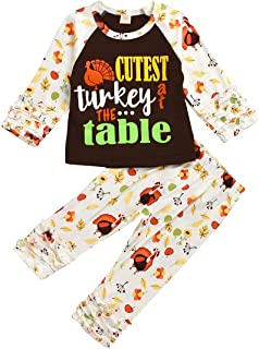 Baby Girls Thanksgiving Outfits Newborn Infant Turkey Gobble Ruffles Romper Top Pants 3Pcs Fall Clothes Set