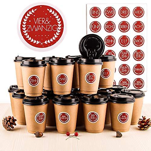 Adventskalender DIY Set, 24 DIY Adventskalender Kaffee-Becher, Adventskalender Zum Befüllen und Basteln, Hochwertige Recycelbare Kaffeetassen mit Deckel, 24 Weihnachtsnummernaufkleber (Rotdeutsch)