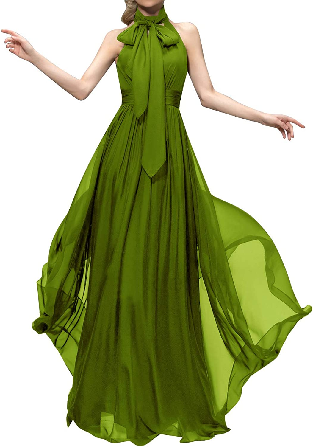 Uther Long Bridesmaid Dress High Neck Sleeveless ALine Evening Party Prom Gown