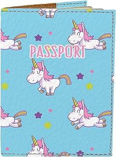 Passport Cover - Holder for Men Women Kids - Designer Vegan Leather Travel Case (Solo Unicorn)