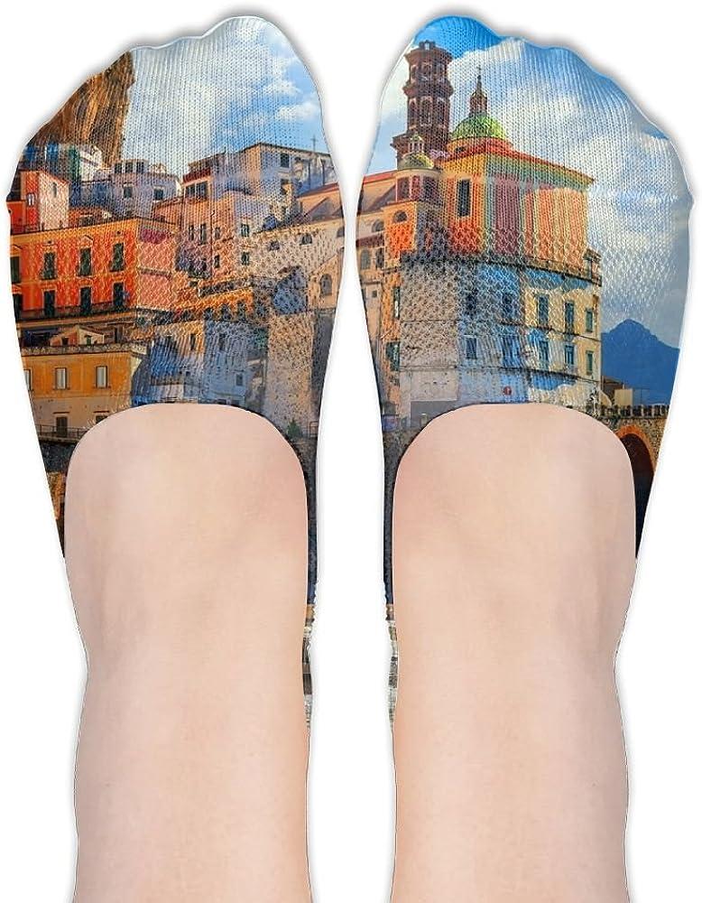 YISHOW Amalfi Coast Positano No-Show Socks Casual Anti Slip Low Cut Crew Boat Sock Hidden Flat Line
