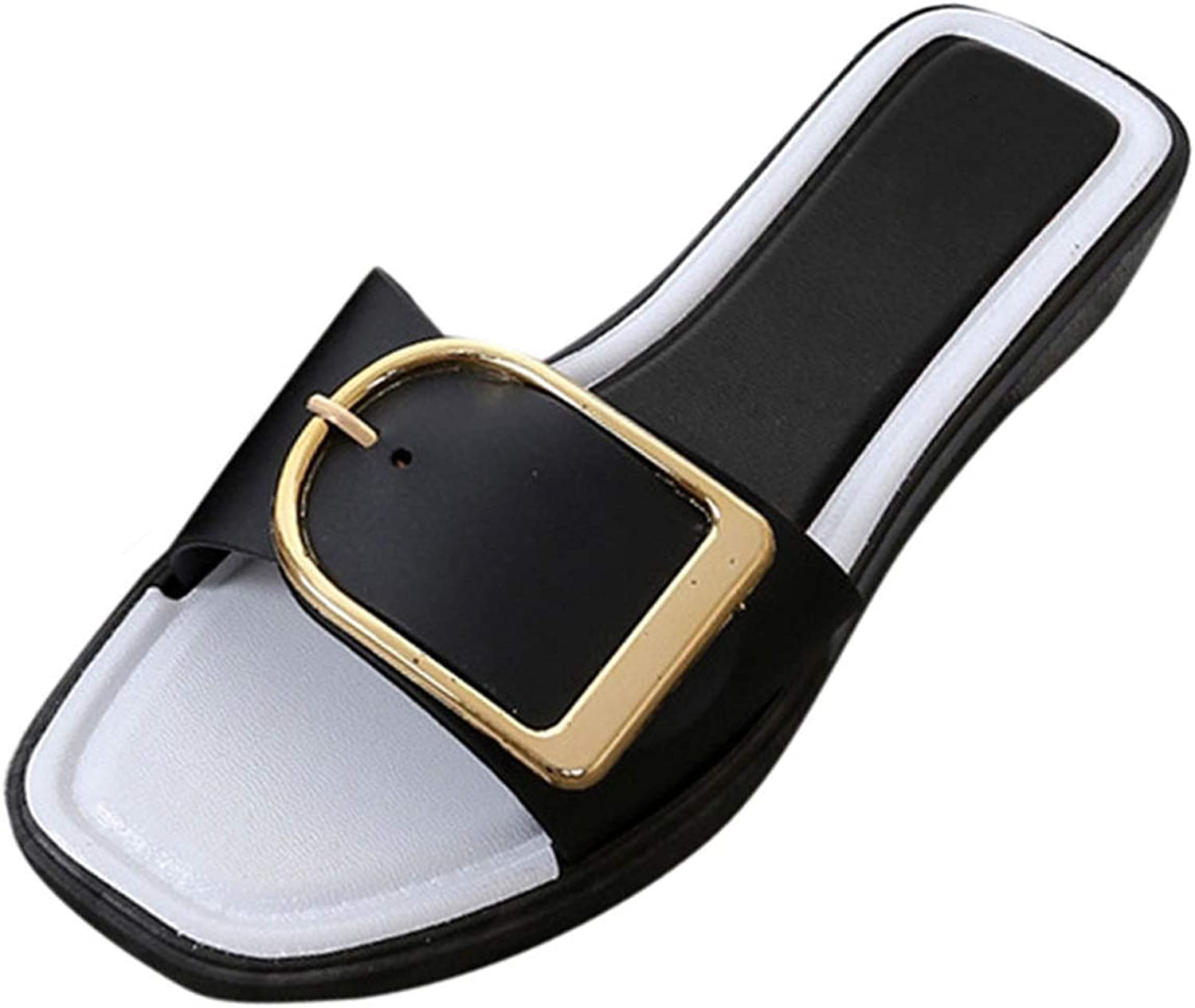 Rather be shoes Women Summer Slides Flat Heel Square Buckle Sandals Slipper Casual shoes Female Casual Slipper shoes women