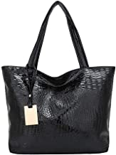 grefaydin Women Fashion Handbags Faux Leather Handbags Crocodile Print Large Capacity Women Tote Shoulder Bag Faux Leather Handbag - Black