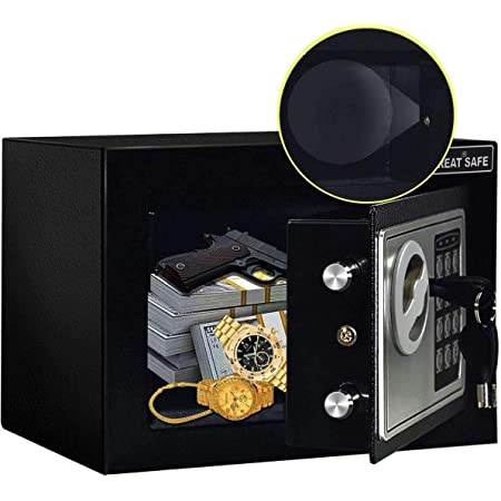 JUGREAT Safe Box with Induction Light,Electronic Digital Security Safe Steel Construction Hidden with Lock,Wall or Cabinet Anchoring Design for Home Office Hotel Business 0.23 Cubic Feet Black