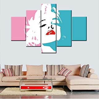Framed Wall Art Marilyn Monroe Portrait Paintings for Living Room Colorful Graffiti Pictures 5 Panels Prints Artwork on Canvas Contemporary House Decor Giclee Stretched Ready to Hang(60''Wx40''H)
