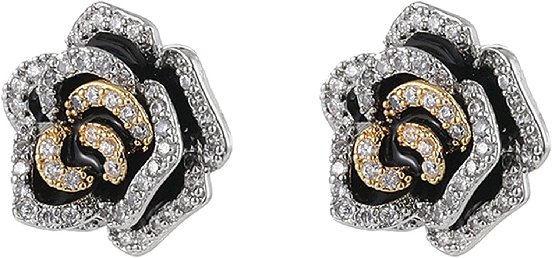 Charm Rose Flower Clip on Earrings for Women Cubic Zirconia Rhinestone Trendy Jewelry for Girls 2021 Ear Piercing Two Tone
