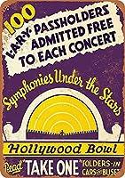 ハリウッドボウルウォールメタルポスターレトロプラーク警告ブリキサインヴィンテージ鉄絵画装飾バーガレージカフェのための面白いハンギングクラフト
