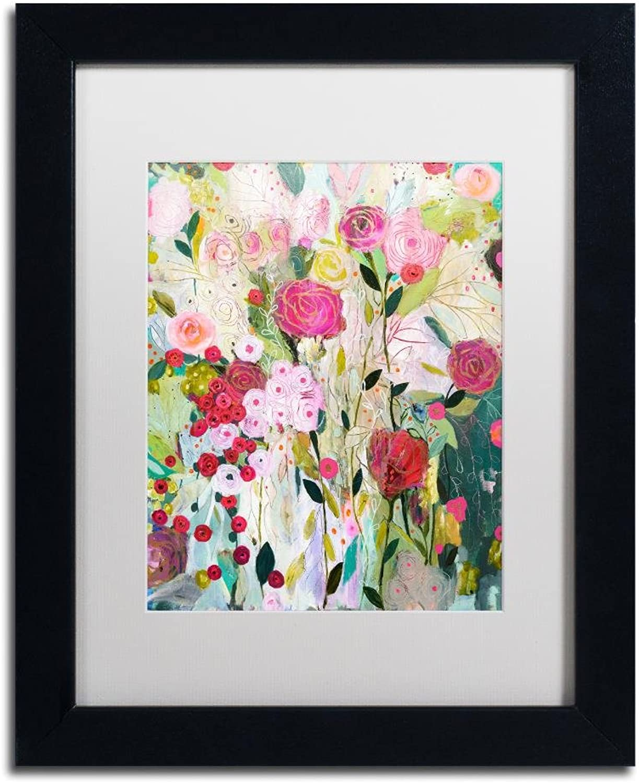 Trademark Fine Art Wild pink by Carrie Schmitt, White Matte, Black Frame, 11  X 14