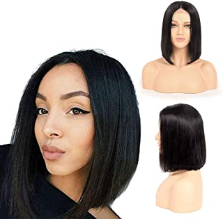 Malaysian Straight Human Hair wigs 4x4 Lace Front Short Bob Wigs Pre Plucked Unprocessed Remy Human Hair lace front wigs for Black Women with Baby Hairs Natural Color By Lovenea (12, Bob wig)