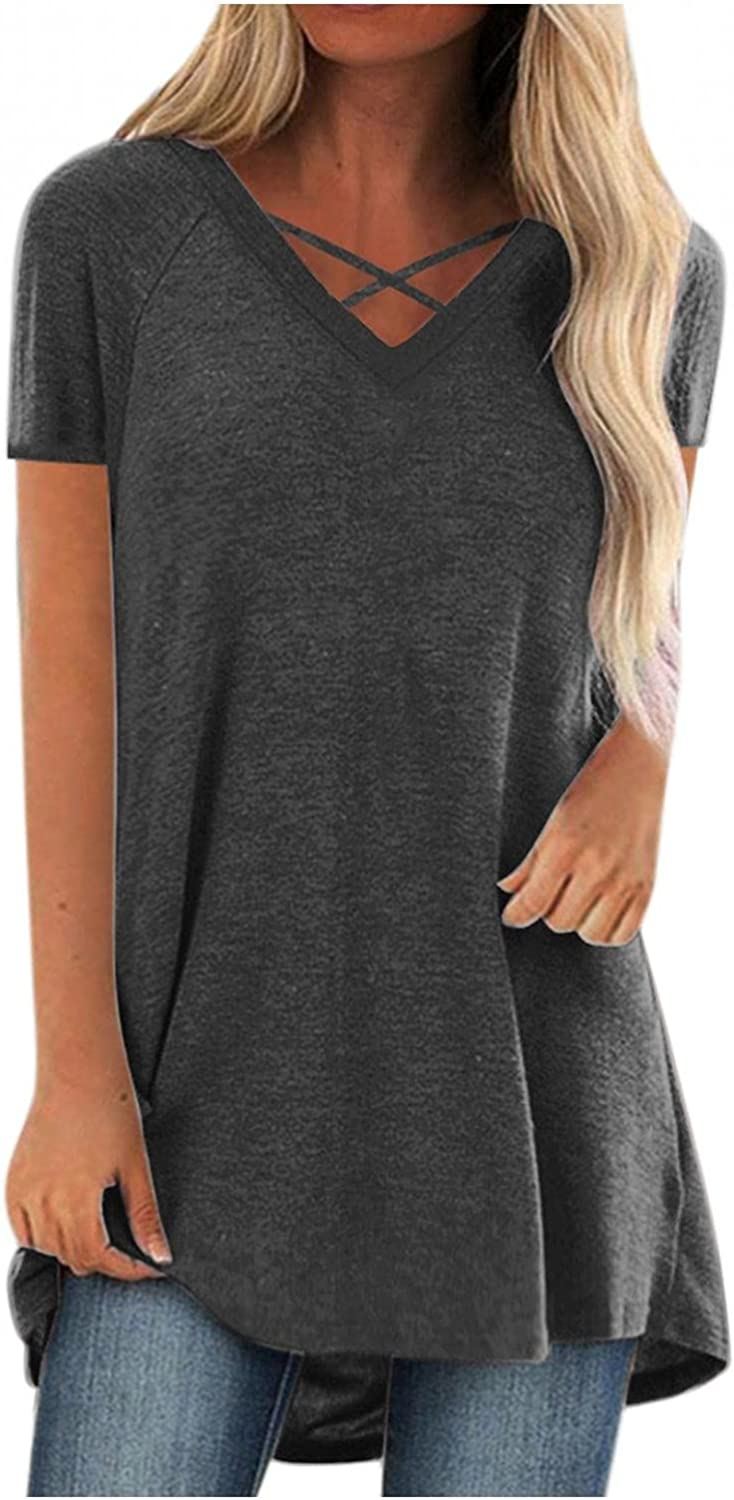 xoxing Womens Summer Tops Casual Plus Size V-Neck Solid Color Short-Sleeved Tops Loose Tunic Basic Workout Shirt Blouse