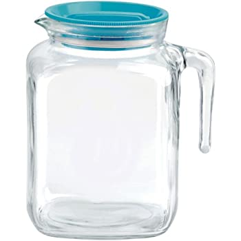 Bormioli Rocco Frigoverre Glass Pitcher with Lid, 77 3/4 Ounce - Teal Lid