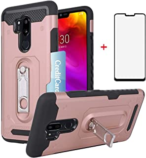 Phone Case for LG G7 ThinQ with Tempered Glass Screen Protector Cover and Card Holder Hard Wallet Stand Kickstand Cell Accessories LGG7 One G 7 Plus LG7 Fit LG7ThinQ 7G Thin Q G7+ G7thinq Women Girls