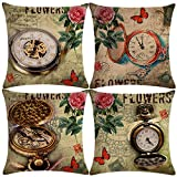 """7COLORROOM 4Pack Retro Pocket Watch Pillow Cover Vintage Theme with Rose Flower &Butterfly Cushion Cover Stamp Home Decorative Square Cotton Linen Pillowcases 18""""×18"""" (Pocket Watch)"""