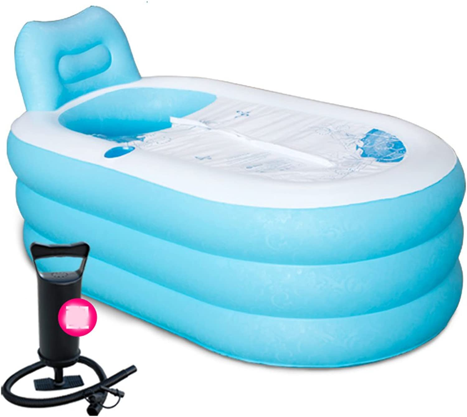 LPYMX,Gepolsterte Badewanne Thick Adult Inflatable tub with Electric Pump Badewanne (color   bluee, Size   Hand Pump)