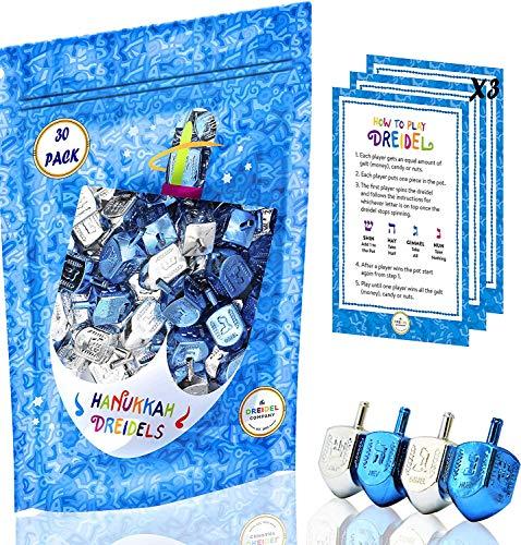 Hanukkah Silver & Blue Dreidels Hebrew Letters & English Transliteration - Includes ×3 Dreidel Game Instruction Cards (30-Pack)