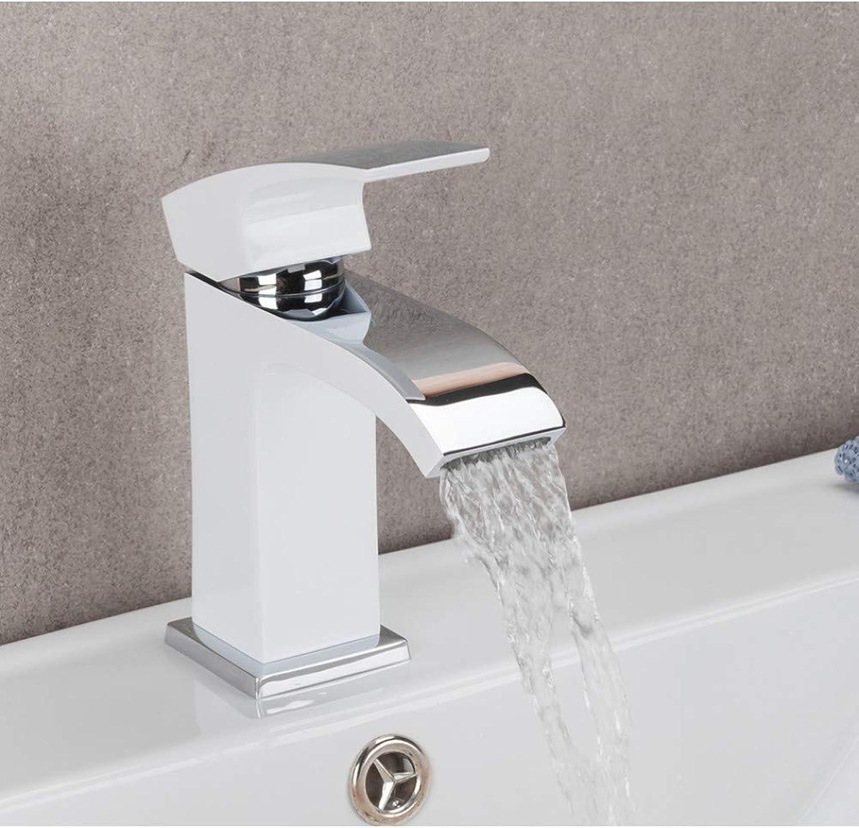 ZHFJGKR&ZL Spültischarmatur Badezimmer-Bassin-HhneWei polierte Plattform angebrachter Mischer-kalter und heier Mischer-einzelner Handgriff-Badewasser-Wasserfall-Hhne Messing