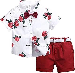 Hooyi Traje Caballero Niños Camiseta Floral Manga Corta Pajarita Pantalones Cortos Rojo Cinturón Vestido Verano