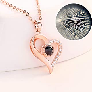 Tuscom Love Heart Pendant Necklace for Women 100 Languages Projective I Love You Necklace Loving Memory by Different Langu...