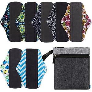NiceEbag 8pcs Set 1pc Wet Dry Bag Cloth Diaper Bag + 7pcs Regular Charcoal Bamboo Mama Cloth/ Menstrual Pads/ Reusable Sanitary Napkin Pads/ Baby Diapers Nappy