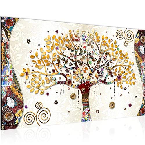 decoración de la mesa Wall Gustav Klimt Árbol de la Vida - 70 x 40 cm Vista de impresión en lienzo Salón Apartamento - listo para colgar - 004614a
